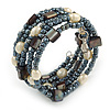 Stylish Glass Bead, Faux Pearl, Sea Shell Nugget Flex Coiled Bracelet ( Hematite, Cream, Dark Grey) - Adjustable