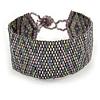 Handmade Geometric Glass Bead Bracelet (Grey/ Purple) - 17cm L
