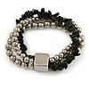 Multistrand Silver Metal Bead, Black Semiprecious Nugget Flex Bracelet - 18cm L