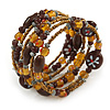 Vintage Style 'Daisy' Glass & Ceramic Bead Coil Flex Bracelet - Brown/ Bronze - Adjustable