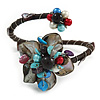 Multicoloured Shell Floral Flex Wire Bracelet - Adjustable