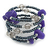 Grey Glass Bead Purple Glass Nugget Multistrand Coiled Flex Bracelet - Adjustable