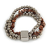 Multistrand Silver Metal Bead, Brown Semiprecious Nugget Flex Bracelet - 18cm L