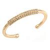 Gold Plated Polished Crystal Bar Cuff Bracelet - 19cm L