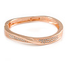 Rose Gold Tone Clear Crystal 'Twist' Hinged Bangle Bracelet - 19cm L