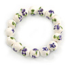 13mm Summery Purple/ Green Floral Pattern White Ceramic Bead Flex Bracelet - 17cm L