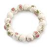 13mm Summery Pink/ Green Floral Pattern White Ceramic Bead Flex Bracelet - 17cm L