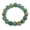 12mm Light Blue/ Teal Semiprecious Round Stone Bead Flex Bracelet - 17cm L