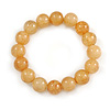 12mm Honey Brown/ Caramel Semiprecious Round Stone Bead Flex Bracelet - 17cm L