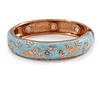 Light Blue Enamel Bird and Flower Copper Magnetic Hinged Bangle Bracelet with Six Magnets - 19cm L