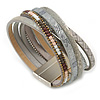 Stylish Grey Faux Leather with Bead Detailing Magnetic Bracelet In Matt Silver Finish - 18cm L