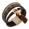 Stylish Brown Faux Leather with Tassel, Glass Beads and Crystal Detailing Magnetic Bracelet In Matt Gold Finish - 18cm L