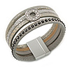 Stylish Grey Textured Faux Leather with Crystal Detailing Magnetic Bracelet In Silver Finish - 18cm L
