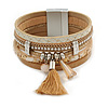 Stylish Gold Caramel Faux Leather with Tassel, Glass Beads and Crystal Detailing Magnetic Bracelet In Silver Finish - 18cm L