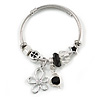 Fancy Charm (Flower, Star, Heart, Crystal Beads) Flex Twisted Cable Cuff Bracelet In Silver Tone Metal - Adjustable - 17cm L