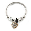 Fancy Charm (Heart, Crystal Bead) Flex Twisted Cable Cuff Bracelet In Silver Tone Metal - Adjustable - 17cm L