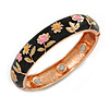 Black Enamel Floral Copper Magnetic Hinged Bangle Bracelet with Six Magnets - 19cm L