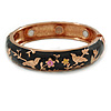 Black Enamel Bird and Flower Copper Magnetic Hinged Bangle Bracelet with Six Magnets - 19cm L