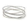 Bridal/ Wedding/ Prom/ Party Silver Tone Clear Crystal with Cross Motif Flex Cuff Bracelet - Adjustable