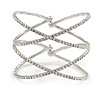 Statement Silver Tone Clear Crystal Double Cross Motif Flex Cuff Bracelet - Adjustable