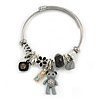 Fancy Charm (Bear, Heart, Flower, Crystal Beads) Flex Twisted Cable Cuff Bracelet In Silver Tone Metal - Adjustable - 17cm L