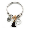Fancy Charm (Tassel, Leaf, Crystal Beads) Flex Twisted Cable Cuff Bracelet In Silver Tone Metal - Adjustable - 17cm L