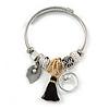 Fancy Charm (Tassel, Leaf, Crystal Beads) Flex Twisted Cable Cuff Bracelet In Silver Tone Metal - Adjustable - 17cm L