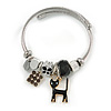 Fancy Charm ( Heart, Kitty, Butterfly, Crystal Beads) Flex Twisted Cable Cuff Bracelet In Silver Tone Metal (Black) - Adjustable - 17cm L
