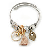 Fancy Charm (Tassel, Leaf, Crystal Bead) Flex Twisted Cable Cuff Bracelet In Silver Tone Metal - Adjustable - 17cm L