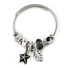 Fancy Charm (Starfish, Leaf, Musical Note, Crystal Beads) Flex Twisted Cable Cuff Bracelet In Silver Tone Metal - Adjustable - 17cm L