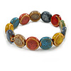 Multicoloured Ceramic Button Bead Stretch Bracelet - 17cm L