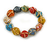 Multicoloured Ceramic Candy Shape Bead Stretch Bracelet - 17cm L