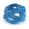 Blue Glass Bead Plaited Flex Cuff Bracelet - Adjustable