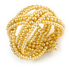 Wide Light Yellow Glass Bead Plaited Flex Cuff Bracelet - Adjustable