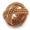 Wide Tan Brown Glass Bead Plaited Flex Cuff Bracelet - Adjustable