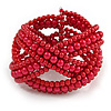 Wide Red Glass Bead Plaited Flex Cuff Bracelet - Adjustable