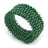 Trendy Green Glass Bead Flex Cuff Bracelet - Adjustable