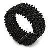 Trendy Black Glass Bead Flex Cuff Bracelet - Adjustable