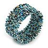 Trendy Light Blue/ Peacock/ White Glass Bead Flex Cuff Bracelet - Adjustable