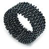 Trendy Hematite/ Anthracite Glass Bead Flex Cuff Bracelet - Adjustable
