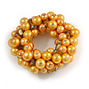 Solid Chunky Yellow Glass Bead, Sea Shell Nuggets Flex Bracelet - 18cm L