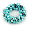 Solid Chunky Light Blue Glass Bead, Teal Sea Shell Nuggets Flex Bracelet - 18cm L