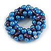 Solid Chunky Blue Glass Bead, Inky Blue Sea Shell Nuggets Flex Bracelet - 18cm L