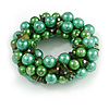 Solid Chunky Green Glass Bead, Sea Shell Nuggets Flex Bracelet - 18cm L