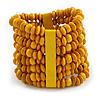 Wide Wooden Bead Flex Bracelet In Yellow - 19cm L - Adjustable