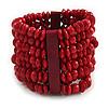 Wide Wooden Bead Flex Bracelet In Red - 19cm L - Adjustable