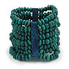 Wide Wooden Bead Flex Bracelet In Teal - 19cm L - Adjustable