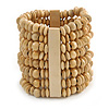Wide Wooden Bead Flex Bracelet In Natural - 19cm L - Adjustable