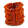 Wide Wooden Bead Flex Bracelet In Orange - 19cm L - Adjustable