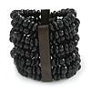 Wide Wooden Bead Flex Bracelet In Black - 19cm L - Adjustable